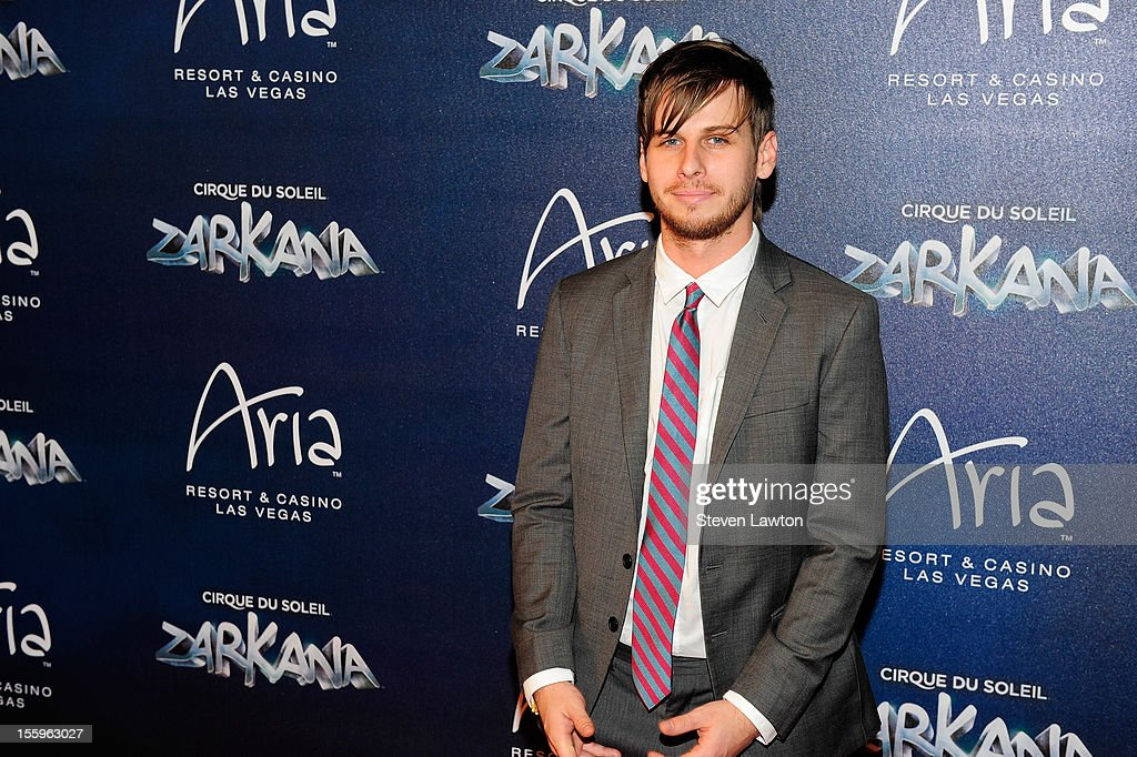 Frontman Mark Foster of the band Foster the People arrives at the Las Vegas premiere of 'Zarkana by Cirque du Soleil' at the Aria Resort & Casino at CityCenter on November 9, 2012 in Las Vegas, Nevada.