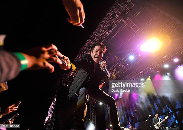 Frontman Patrick Monahan of Train performs at the Downtown Las Vegas Events Center on November 7 2015 in Las Vegas Nevada