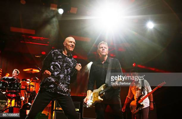 Frontman Peter Garrett Martin Rotsey lead guitarist and Bones Hillman bass guitarist from Midnight Oil perform during The Great Circle 2017 World...