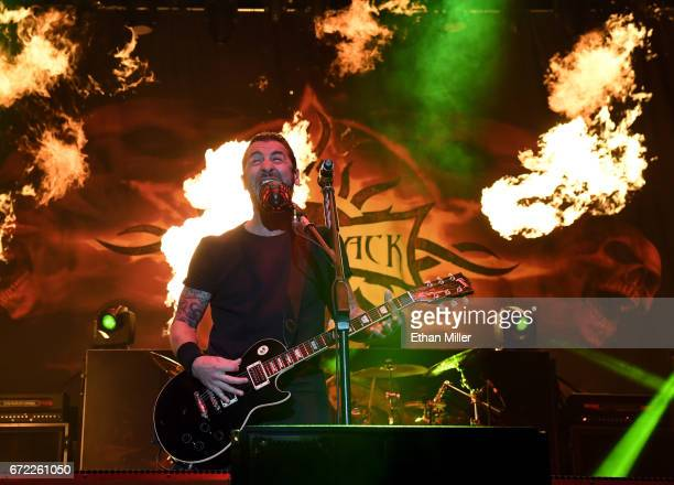 Frontman Sully Erna of Godsmack performs during the Las Rageous music festival at the Downtown Las Vegas Events Center on April 21 2017 in Las Vegas...
