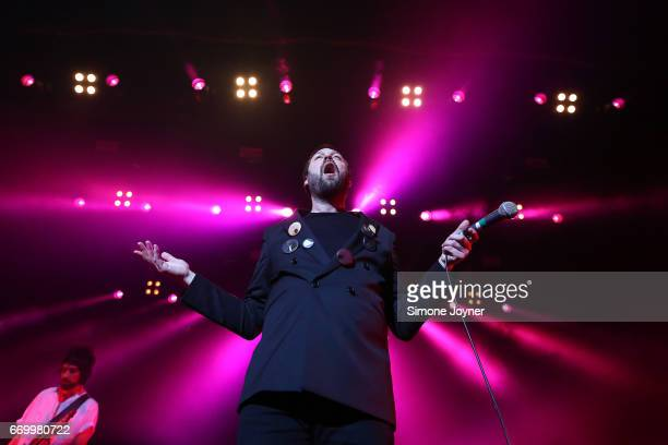 Frontman Tom Meighan of Kasabian perform live on stage at The Forum on April 18 2017 in London United Kingdom