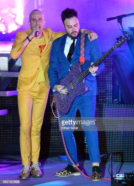 Frontman Tyler Glenn and bassist Branden Campbell of Neon Trees perform at The Boulevard Pool at the Cosmopolitan of Las Vegas as the band tours in...