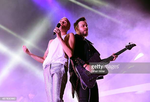 Frontman Tyler Glenn and bassist Branden Campbell of Neon Trees perform during the Life is Beautiful festival on October 24 2014 in Las Vegas Nevada