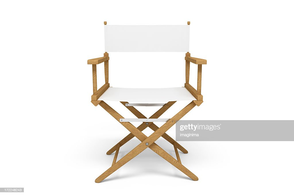 Frontside of a Director's Chair - Wooden / White (Isolated)