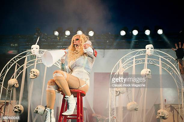 Frontwoman Maria Brink of American heavy metal group In This Moment performing live on the Pepsi Max Stage at Download Festival on June 14 2013