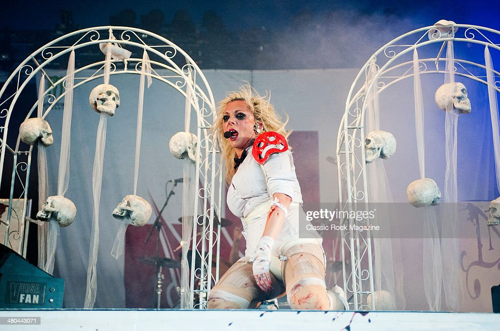 Frontwoman Maria Brink of American heavy metal group In This Moment performing live on the Pepsi Max Stage at Download Festival on June 14, 2013.