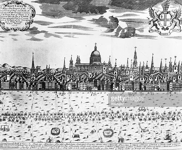 1716 Frost Fair on the frozen River Thames in London viewed from Temple Stairs to the Old Swan