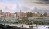 'A Frost Fair on the Thames at Temple Stairs' c1684 This fair one of several built on the frozen Thames during severe winters was exceptional in that...