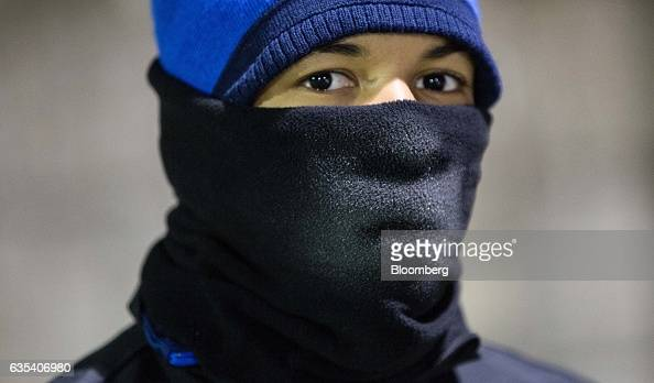 Frost is seen on the neck warmer snood of Willian Henrique dos Santos of Brazilian football club Fluminense FC during a training session in Samorin...