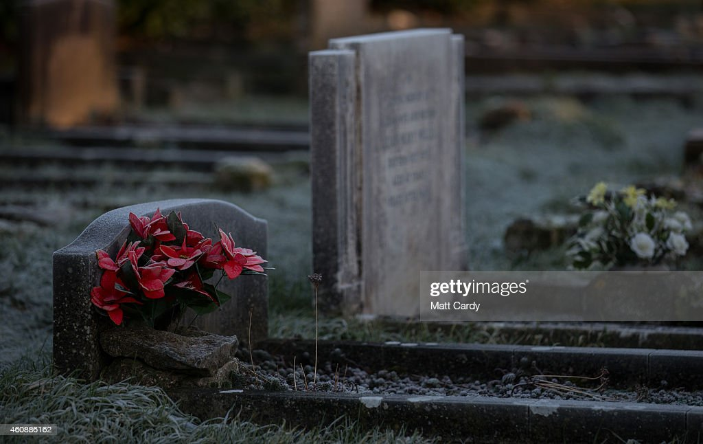 Frost lingers on a headstone in a cemetery near Bath on December 29 2014 in Bath and North East Somerset England According to the Met Office Britain...