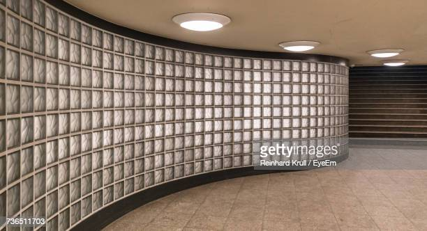 Frosted Glass Wall At Illuminated Subway Station