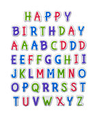 Frontsing Alphabet Cake Toppers Isolated on a White Background.
