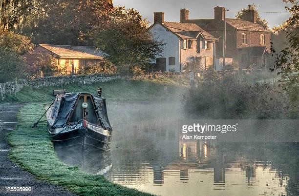 Frosty dawn on canal