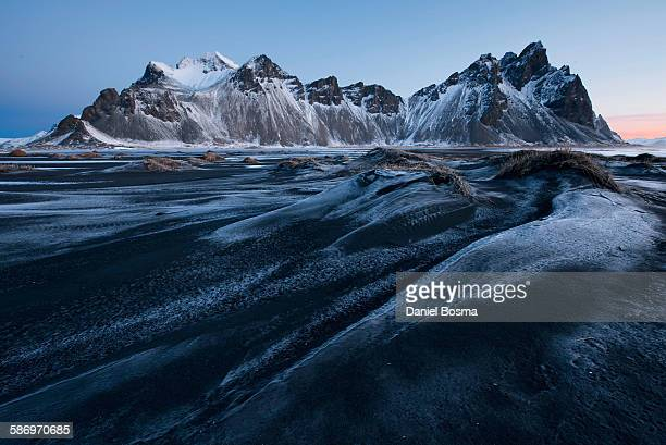 Frosty magic on black sand beach, Iceland