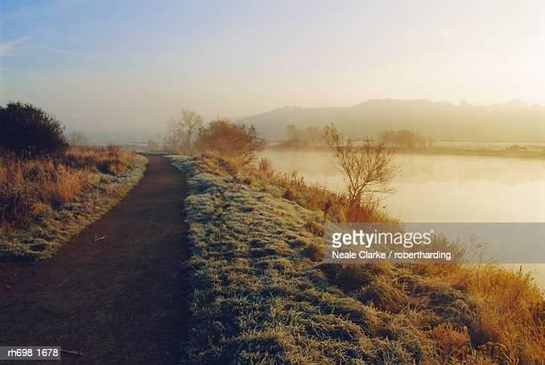 Frosty river bank, River Trent, Attenborough, Nottinghamshire, England, UK