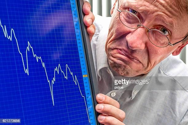 Fruncir el ceño hombre y disipación de la tasa de control de cambio