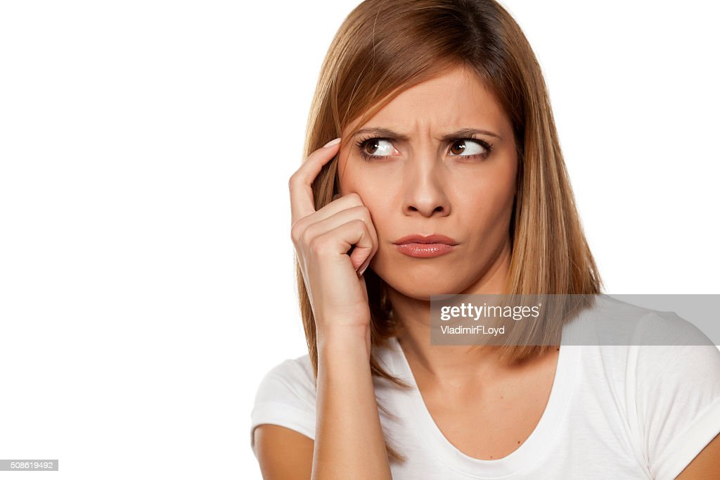frowning woman : Stock Photo