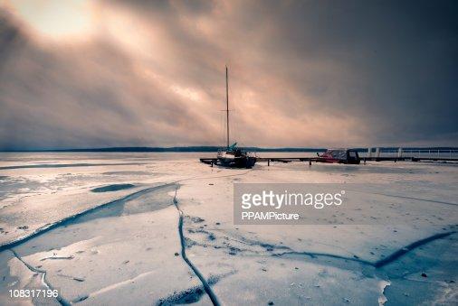 Frozen Boats : Stock Photo