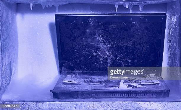 Frozen broken laptop computer