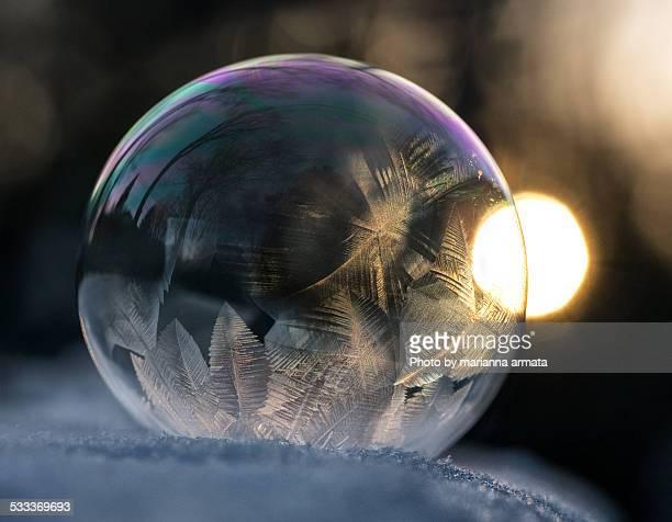 Frozen bubble at sunset