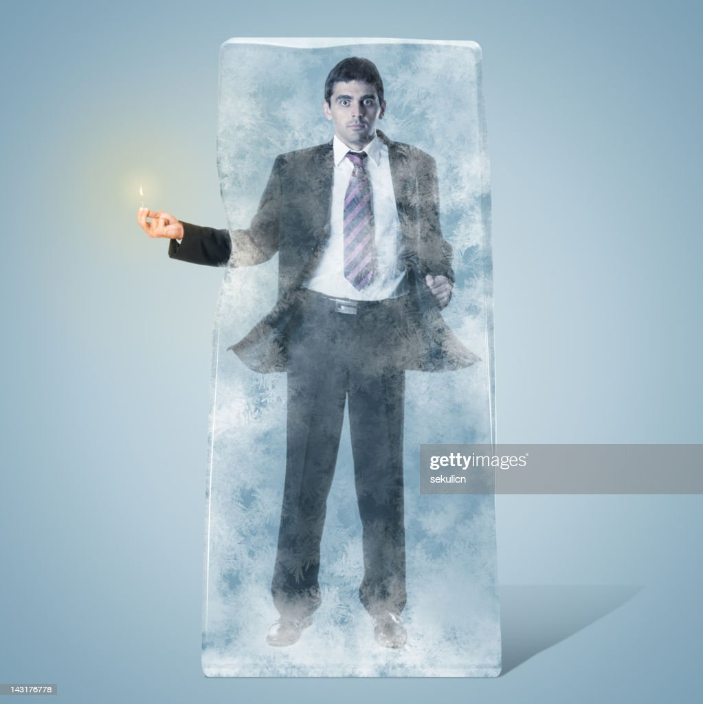 Frozen Businessman : Stock Photo