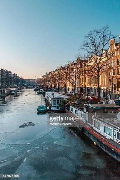 Frozen canal on Keizersgracht