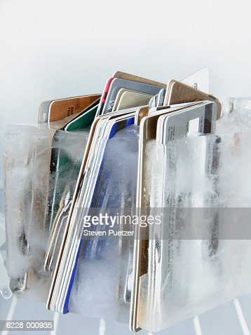 Frozen Credit Cards : Stock Photo