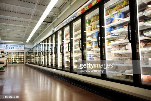 Frozen department of grocery store.