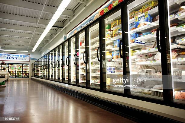 Frozen department of grocery store.