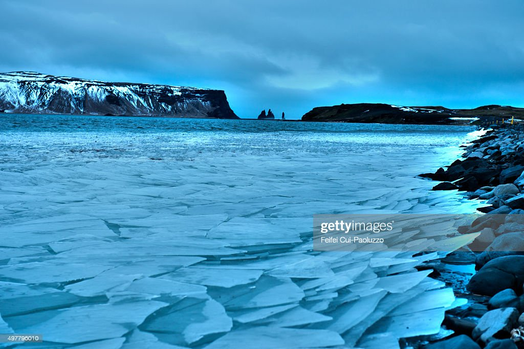 Frozen Estuary of Dyrholaey Iceland
