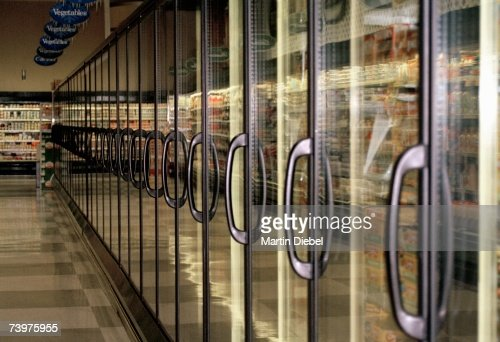 Frozen food aisle in a supermarket