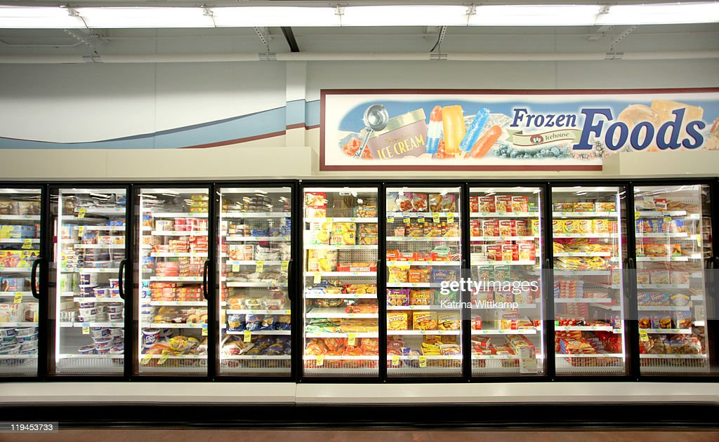 Frozen food department of grocery store. : Stock Photo