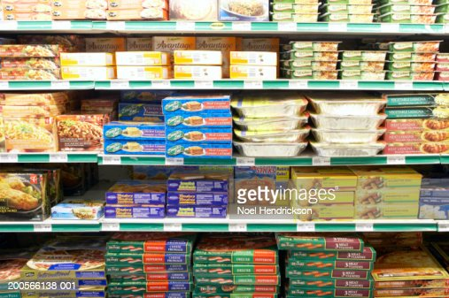 Frozen foods section of grocery store