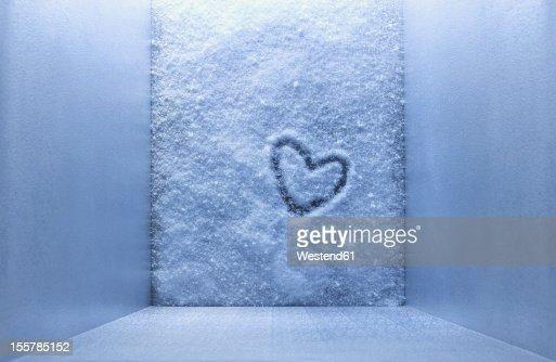 Frozen heart shape in freezer
