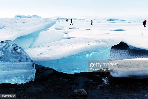 Frozen Jokulsarlon glacial lagoon in winter, Iceland