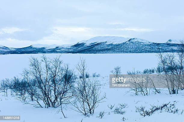 Frozen Kilpisjarvi lake with Sweden in the background in arctic wilderness at nightfall by Kilpisjarvi Finland