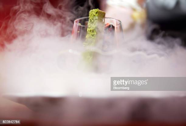 A frozen KitKat dessert is served during a media preview of the KitKat Chocolatory Ginza store operated by Nestle SA in Tokyo Japan on Monday July 24...