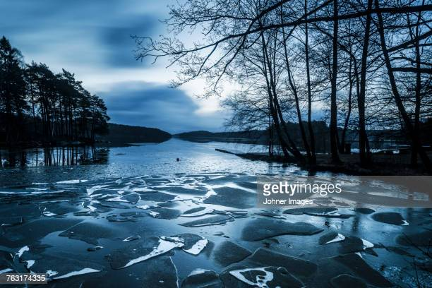 Frozen lake at dawn