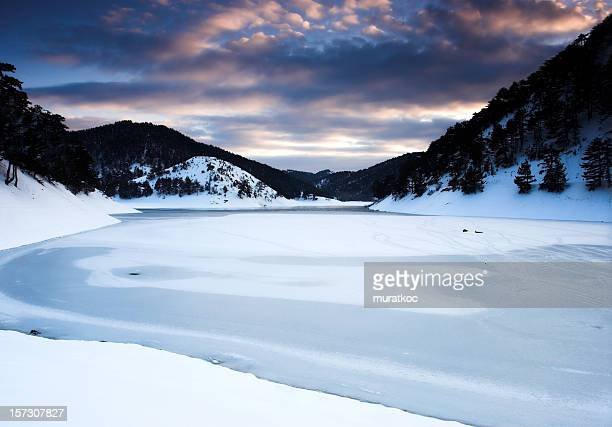 A frozen lake during the winter
