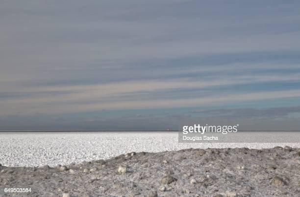 Frozen Lake Erie, Cleveland, Ohio, USA