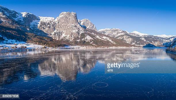 Frozen Lake Grundlsee, Arial Winter Panorama, Austria