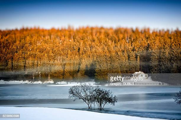 Frozen lake in winter with small remote cabin in forest