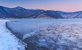 Frozen lake Nohur.Gabala.Azerbaijan