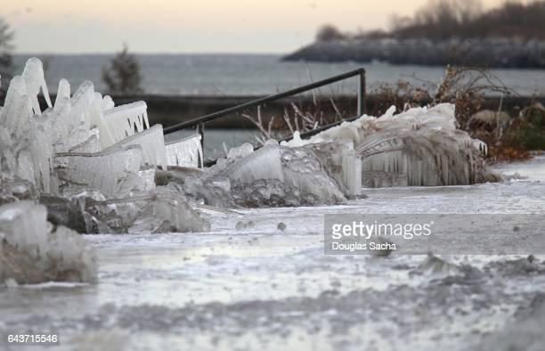 Frozen landscape along the shore, Cleveland, Ohio, USA