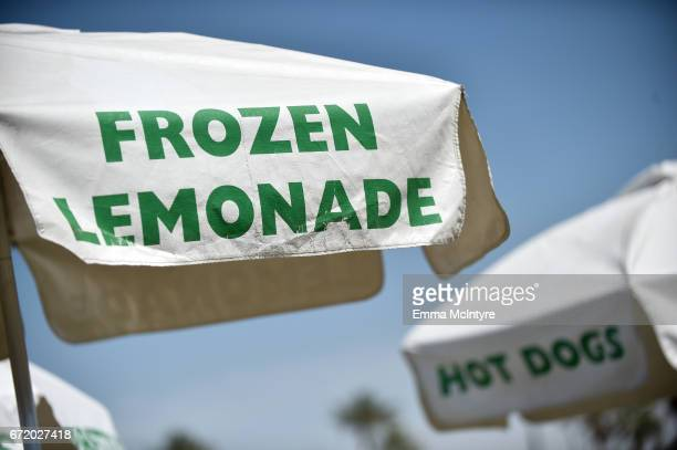 Frozen Lemonade and Hot Dogs signs are seen during day 3 of the Coachella Valley Music And Arts Festival at the Empire Polo Club on April 23 2017 in...