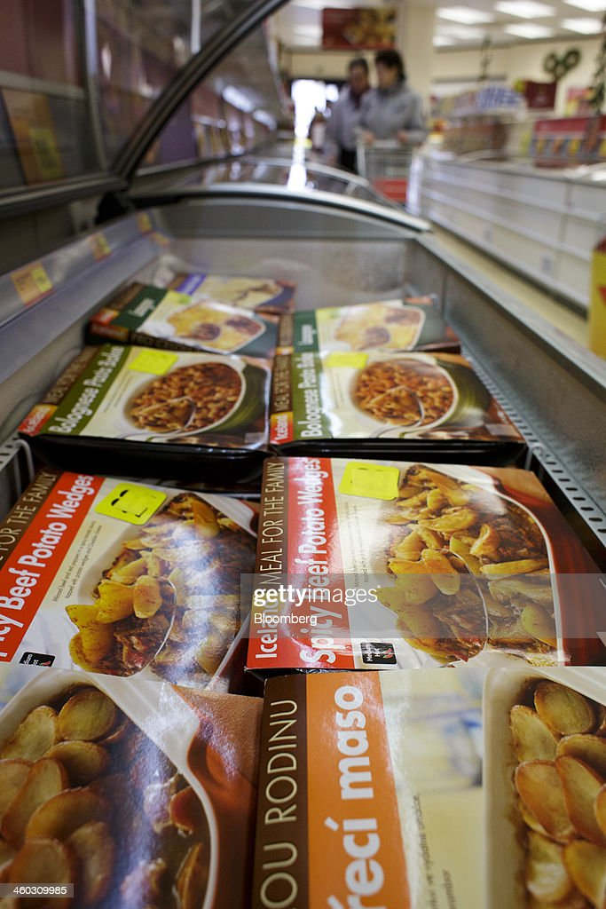 Frozen meat ready-meals including beef products sit for sale inside an Iceland Foods Ltd. store in Prague, Czech Republic, on Friday, Jan. 3. 2014. The Czech Republic's 2013 budget deficit of 80.9 billion koruna ($4.01 billion) beat the 100 billion-koruna target after the government cut spending, the Finance Ministry said. Photographer: Martin Divisek/Bloomberg via Getty Images