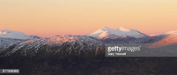 Frozen mountainous Scottish landscape of Glencoe