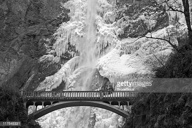 Frozen Multnomah Falls in Black and White