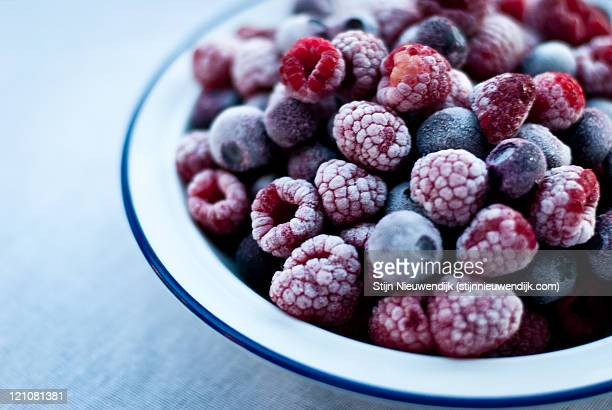 Frozen raspberries and blueberries