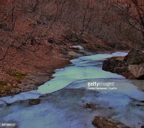 Frozen River By Mountains At Dusk